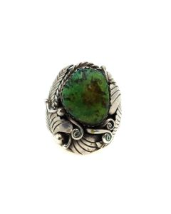 Robert Kelly - Navajo Turquoise and Silver Ring with Floral Design c. 1960s, size 11.25 (J13440)
