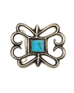 "Navajo Blue Gem Turquoise and Silver Sandcast Belt Buckle c. 1930s, 2.25"" x 2.75"" (J13456-CO)"