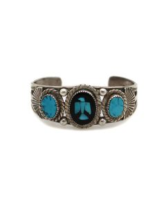 Navajo/Zuni Turquoise and Jet Inlay and Silver Bracelet with Thunderbird Design c. 1940s, size 6.5 (J13470-CO)