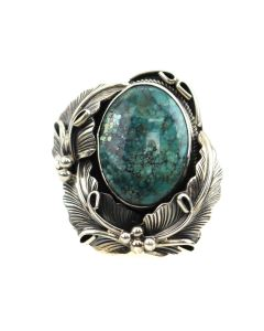 Navajo Turquoise and Silver Ring with Floral Design c. 1980-90s, size 6.25 (J13493)
