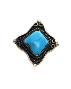 Navajo Turquoise and Silver Ring c. 1970-80s, size 6.25 (J13497)