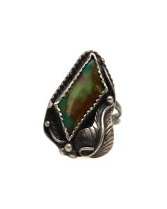 Navajo Turquoise and Silver Ring with Leaf Design c. 1970s, size 8 (J13499)