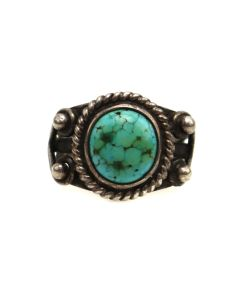 Navajo Turquoise and Silver Ring c. 1960-70s, size 4.75 (J13500)