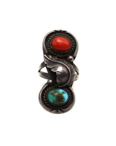 Navajo Turquoise, Coral, and Silver Ring with Leaf Design c. 1960-70s, size 7.75 (J13501)