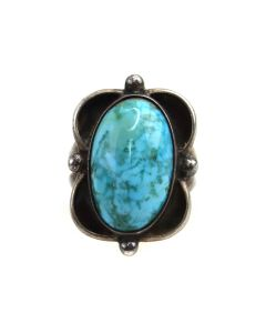 Navajo Turquoise and Silver Ring c. 1970s, size 5.5 (J13502)
