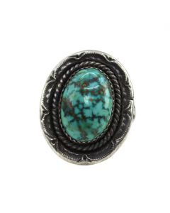 Navajo Turquoise and Silver Ring c. 1970-80s, size 10.75 (J13503)