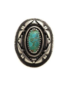 H. Begay - Navajo Turquoise and Silver Ring c. 1980s, size 6.25 (J13504)