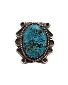 Navajo Turquoise and Silver Ring c. 1970s, size 6.25 (J13506)