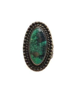 Navajo Turquoise and Silver Ring c. 1970s, size 6.5 (J13508)