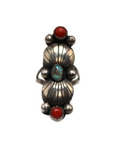 Navajo Turquoise, Coral, and Silver Ring c. 1970s, size 6 (J13509)