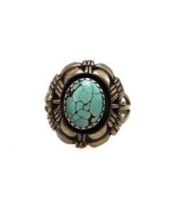 Navajo Turquoise and Silver Ring c. 1970-80s, size 6 (J13513)
