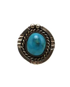 Navajo Turquoise and Silver Ring c. 1970s, size 6.25 (J13514)