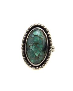 Navajo Turquoise and Silver Ring c. 1970-80s, size 5.75 (J13515)