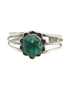 Navajo Turquoise and Silver Bracelet c. 1960s, size 6.25 (J13522)