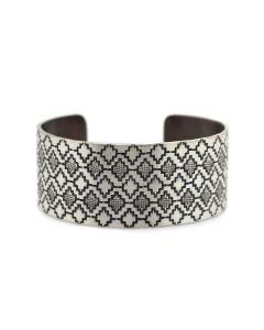 Roland Begay - Navajo Contemporary Sterling Silver Bracelet with Stamped Design, size 6.75 (J13539)