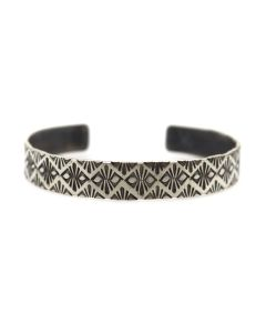 Roland Begay - Navajo Contemporary Sterling Silver Bracelet with Stamped Design, size 6.75 (J13547)