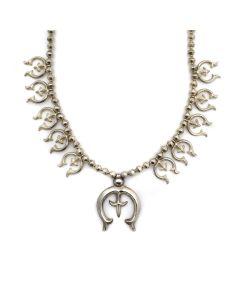 "Navajo Silver Sandcast Squash Blossom Necklace c 1960s, 24"" length (J13556) 1"