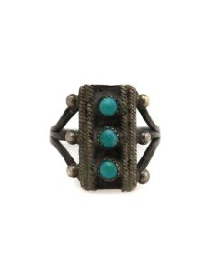 Zuni Petit Point Turquoise and Silver Ring c. 1930s, size 6.25 (J13569)