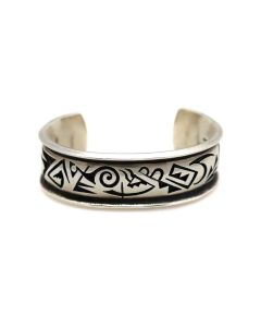 Michael Kabotie (Lomawywesa) (1942-2009) - Hopi Sterling Silver Overlay Bracelet c. 1990s, size 6.5 (J13601)