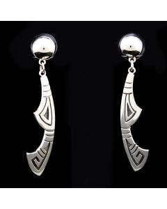 "Roy Talahaftewa - Hopi Contemporary Sterling Silver Dangle Post Earrings, 2.5"" x 0.5"" (J13612)"