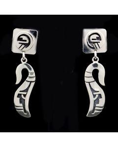 "Roy Talahaftewa - Hopi Contemporary Sterling Silver Dangle Post Earrings, 2"" x 0.5"" (J13613)"