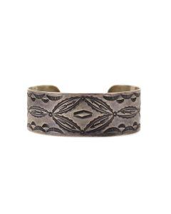 "Navajo Silver Bracelet with Stamped Design c. 1930s, size 6.5"" (J13623-CO)"