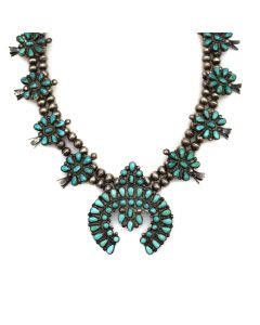 """Zuni Turquoise and Silver Squash Blossom Necklace c. 1940s, 26"""" length (J13642) 1"""