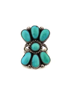 Julie Ondelacy Lahi - Zuni Turquoise and Silver Ring c. 1970s, size 4.25 (J13731)