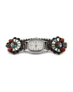 "Andrew Laahte - Zuni Multi-Stone Inlay and Silver Sunface Kachina Watchband c. 1960s, 0.75"" x 0.875"" (J13846)"