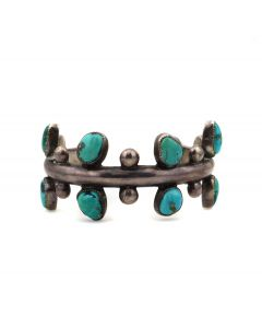 Carmelo Patania (1902-1999) - Turquoise and Sterling Silver Sandcast Bracelet c. 1950-60s, size 6.25 (J13853)