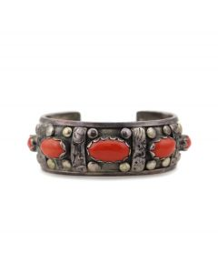 Carmelo Patania (1902-1999) - Coral and Sterling Silver Bracelet c. 1960s, size 6.75 (J13854)