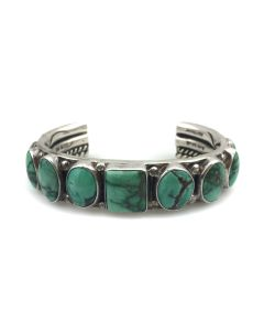 Orville Tsinnie (1943-2017) - Navajo Turquoise and Silver Bracelet c. 1990s, size 6.5 (J13860)