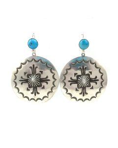 """Kee Nataani - Navajo Contemporary Morenci Turquoise and Sterling Silver Hook Earrings with Stamped Design, 2"""" x 1.5"""" (J13903)"""
