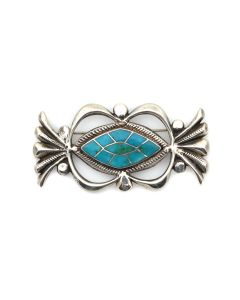 """Attributed to Horace Iule (1901-1978) - Zuni Blue Gem Turquoise and Silver Sandcast Pin c. 1940-50s, 1.5"""" x 3"""" (J13935-CO)"""