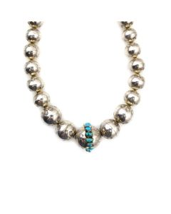 """Navajo Turquoise and Silver Beaded Necklace with Stamped Design c. 1960s, 26"""" length (J13945-CO)2"""