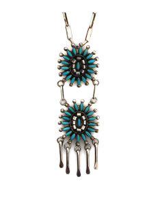 "A.N. Peynetsa - Zuni Turquoise and Silver Necklace c. 1950-60s, 22"" length (J13950) 1"
