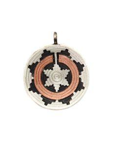 "Roland Begay - Navajo Contemporary Silver and Copper Wedding Basket Pendant, 1.25"" x 1"" (J13955A)"