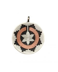 "Roland Begay - Navajo Contemporary Silver and Copper Wedding Basket Pendant, 1.25"" x 1"" (J13955B)"