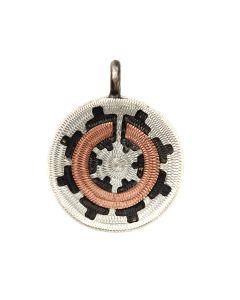 "Roland Begay - Navajo Contemporary Silver and Copper Wedding Basket Pendant, 0.875"" x 0.75"" (J13956D)"