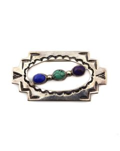 """Rudy Willie and Joe Delgarito - Navajo Multi-Stone and Silver Pin/Pendant with Stamped Design c. 1980s, 1.25"""" x 2.25"""" (J13961)"""