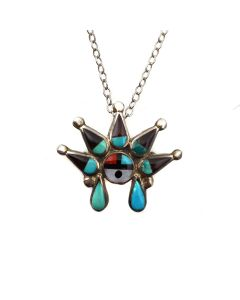 """Zuni Multi-Stone Channel Inlay and Silver Sunface Kachina Pin/Pendant with Chain c. 1950-60s, 1"""" x 1.125"""" (J13976) 1"""