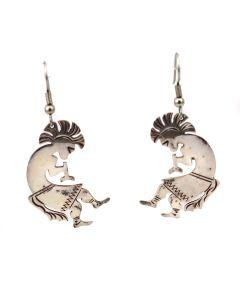 """Navajo Silver Kokopelli Hook Earrings c. 1980s, 2.25"""" x 1.75"""" (J13977)"""