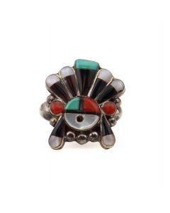 Zuni Multi-Stone and Silver Ring with Sunface Kachina Design c. 1950-60s, size 4.5 (J13978)