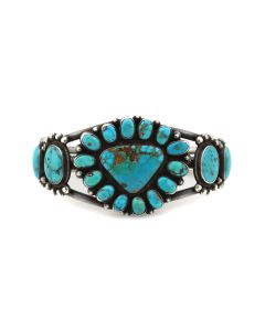 Navajo Turquoise and Silver Bracelet c. 1920-30s, size 6.75 (J13982)