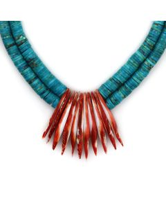 """Santo Domingo (Kewa) Spiny Oyster and Turquoise Heishi Necklace c. 1970s, 24"""" length (J13983) 1"""