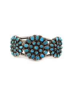 Navajo Turquoise Cluster and Silver Bracelet c. 1940s, size 6.5 (J13995)