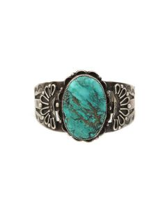 Navajo Turquoise and Silver Bracelet c. 1930s, size 6.75 (J14013-CO)