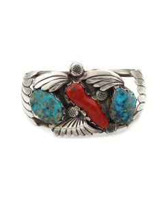 Dan Simplicio (1917-1969) - Zuni Turquoise, Coral, and Silver Bracelet c. 1950-60s, size 7.5 (J14015-CO)