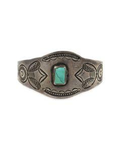 Navajo Turquoise and Ingot Silver Bracelet c. 1920s, size 6.75 (J14026-CO)