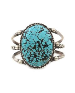 Navajo Turquoise and Silver Bracelet c. 1960s, size 7 (J14030-CO)